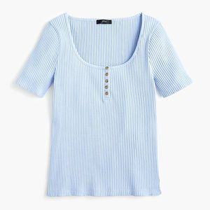 J. Crew Blue Scoop Neck Ribbed Henley